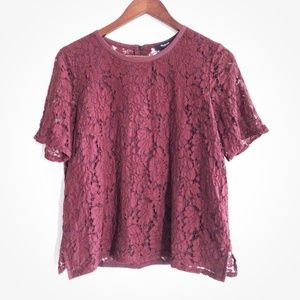 Madewell Lace Tee in Dark Cabernet